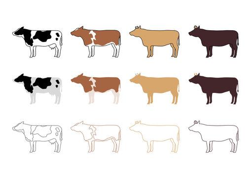 牛 バリエーション イラスト アイコン セット