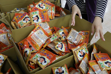 Packets of oats to be included in care packages delivered by the Taoyuan health department to people who have been ordered to be under self-quarantine, are seen in Taoyuan, Taiwan