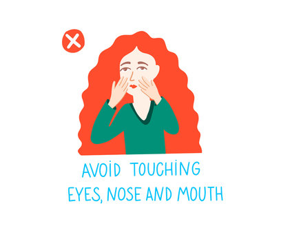 avoid touching eyes, nose and mouth - coronavirus quarantine motivational phrase and girl with red hair, covid-19