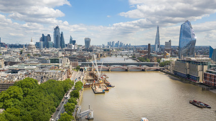 Printed roller blinds London City of London, cityscape with modern buildings and skyscrapers skyline, Tower of London in foreground, clear blue sky - panorama of Great Britain from above, United Kingdom, Europe