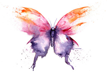Photo sur Plexiglas Papillons dans Grunge watercolor drawing - butterfly made of blots and splashes