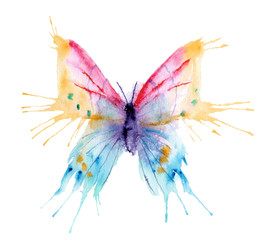 Fotorolgordijn Vlinders in Grunge watercolor drawing - butterfly made of blots and splashes