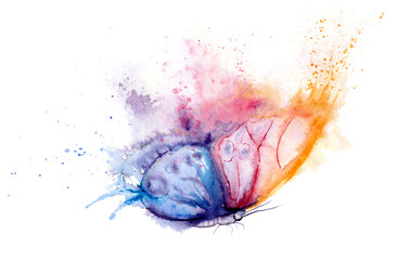Poster de jardin Papillons dans Grunge watercolor drawing - butterfly made of blots and splashes
