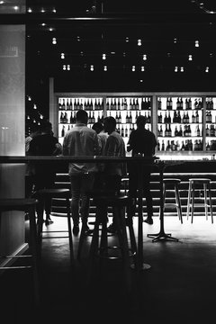 People gathering in Bar Nightlife Black and White BW