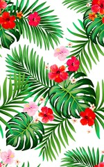 Trendy vector pattern in tropical style. Seamless botanical print for textile, print, fabric.Summer background. Jungle illustration