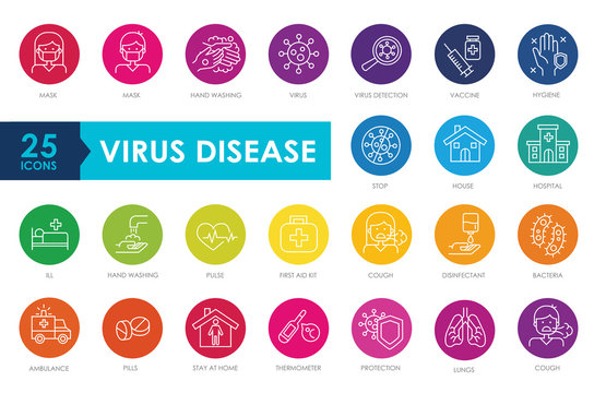 Coronavirus line icon set. Multi colored cartoon. Included icons as virus, ncov-2019, contagious, contagion, infection, surgical mask, hand washing, pneumonia, ambulance, hospital, vaccine and more.