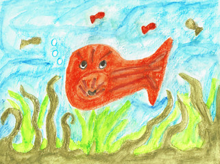 Cartoon Fish in the Sea, Hand Drawn Water Color Painting