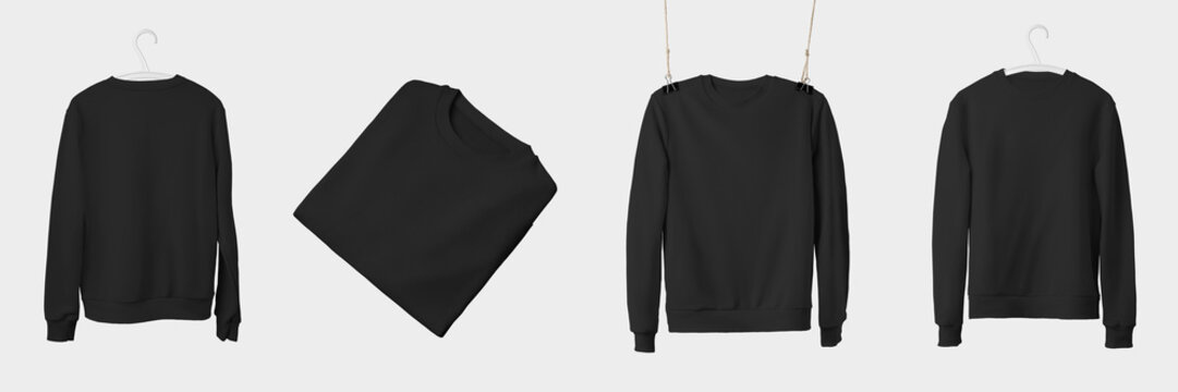 Mockup of black textile sweatshirt hanging on a hanger and rope, isolated on a white background.