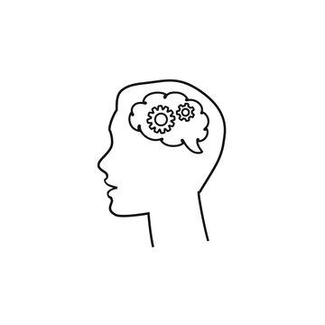 Black silhouette head brain gear, Business man, Vector illustration line icon