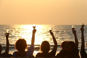 silhouette of a group of friends holding up their glasses of wine while enjoying a sunset together