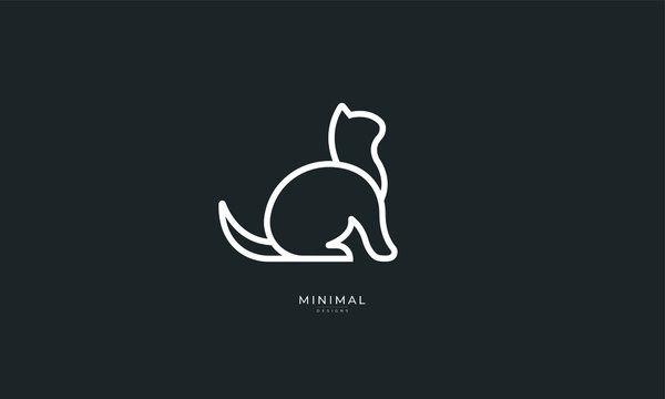 A line art icon logo of a cat