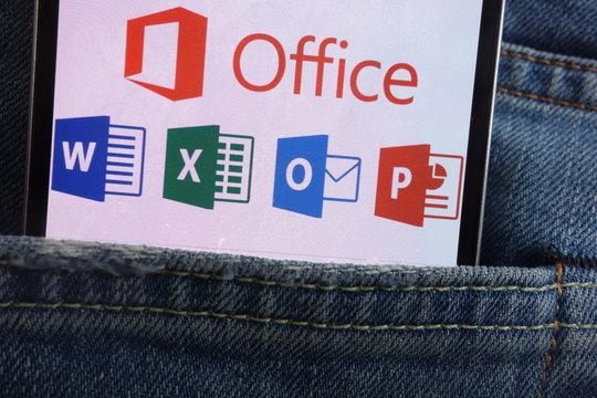 KONSKIE, POLAND - JUNE 01, 2018: Microsoft Office logo displayed on smartphone hidden in jeans pocket
