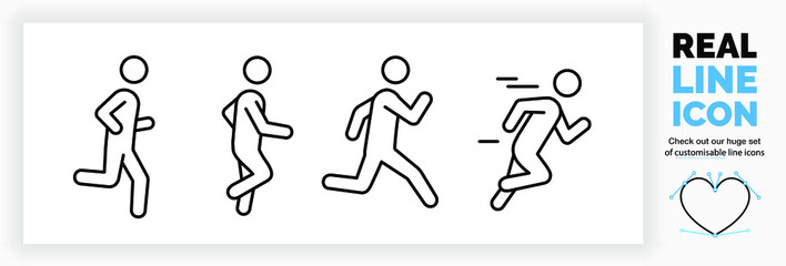 Editable real line icon set of a boy stick figure running fast and jogging in a outline design in modern black lines on a clean white background as a EPS vector file