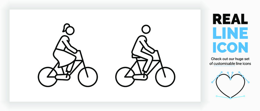 editable real line icon of a female and male stick figure riding on a bicycle the woman has a pony tale and a skirt in black modern lines on a clean white background as a EPS infographic
