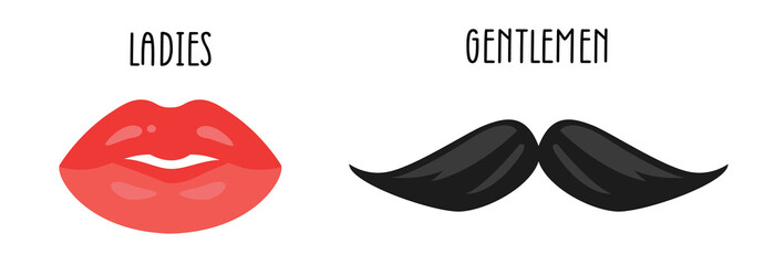 Male mustache and female lips set. Isolated vector clip art. Traditional celebration mask. Fun photo props.
