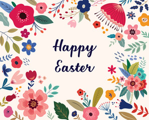 Fototapete - Easter greeting illustration with colorful spring flowers. Happy Easter template, invitation