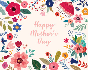 Fototapete - Happy Mothers Day greeting illustration with colorful spring flowers. Happy Mothers Day template
