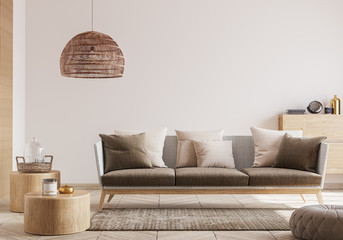 Cozy living room interior, Scandinavian style mock up. Rattan ceiling lamp , wooden furniture and...