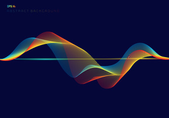 Abstract colorful digital equalizer wave lines on dark blue background