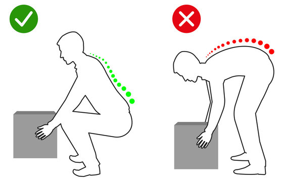 Ergonomics - Line drawing of correct posture to lift a heavy object