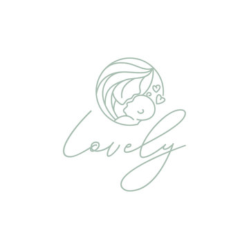 Beauty Mom Mother Mommy Woman with Baby Nursing logo design