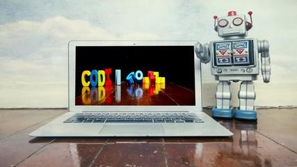 Fototapete - cinemagraph  teacher robot teaching code to kids