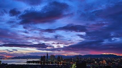 Wall Mural - 都市風景 福岡市 夜明け タイムラプス