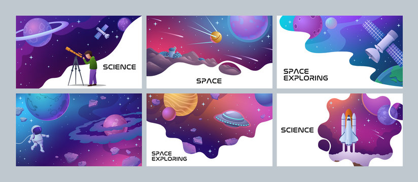 Four colorful Space and Science poster designs showing an astronomer, spaceman rocket, planets, satellite and lunar landing, vector illustration