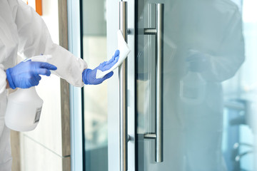 Door and door handle disinfection