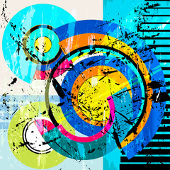 abstract circle background, illustration with strokes, splashes and geometric lines