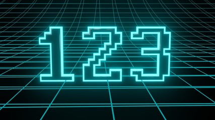 Number 123 in neon glow cyan on grid background, isolated number 3d render Wall mural