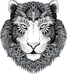 Vector Black and White Tattoo Tiger Head Illustration