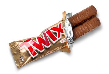 Closeup of unwrapped Twix candy chocolate bar