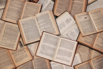 Overhead closeup shot of open books of literature - perfect for background
