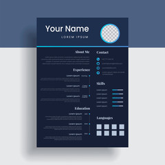 Dark resume template for your profile