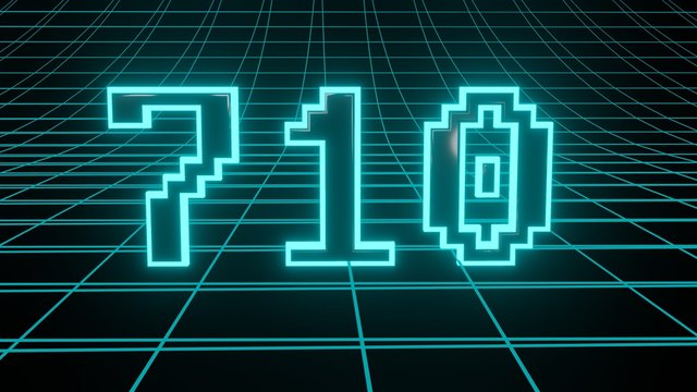 Number 710 in neon glow cyan on grid background, isolated number 3d render