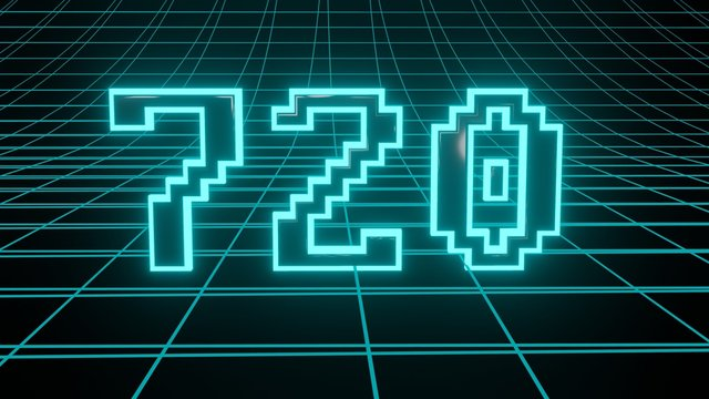 Number 720 in neon glow cyan on grid background, isolated number 3d render