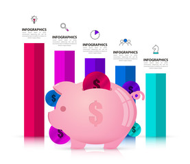 Infographic design template. Piggybank concept with 5 steps