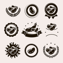 Beans labels and elements set. Collection icon beans. Vector