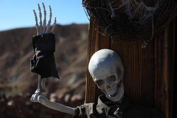 Handshaking Halloween Skull Makeup
