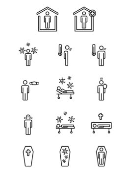 Coronavirus symbols for statistics with regard to people avoiding it, being infected by it, cured or dead.