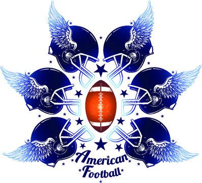 Vector Color American Football Helmets and Ball Illustration
