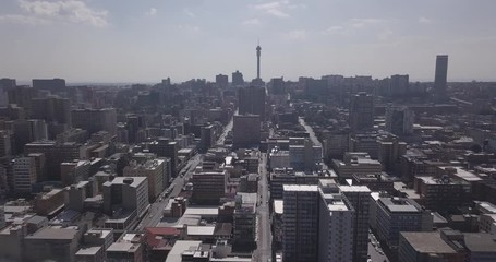 Wall Mural - Aerial view of downtown with offices and residential buildings, Johannesburg, South Africa