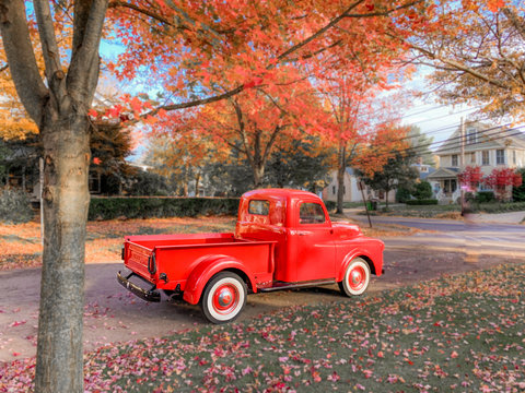 Vintage Red Truck Autumn