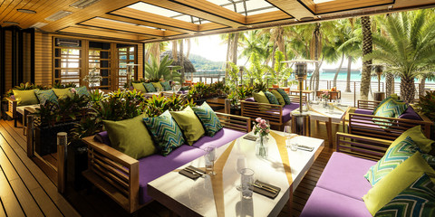 3D Visualization of Terrace Restaurant Area Inside a Subropical Resort- panoramic