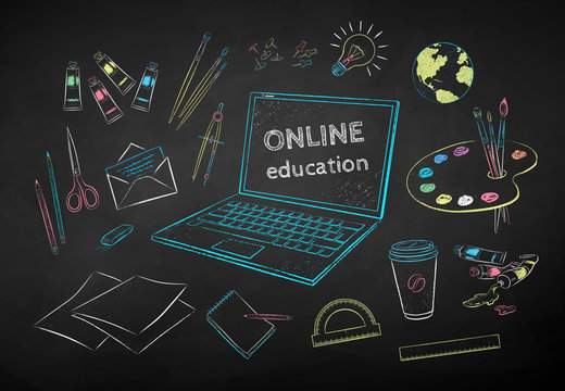 Chalk drawn set of online artist education items
