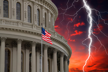 Wall Mural - lightning on Washington DC Capitol view on red sunset cloudy sky