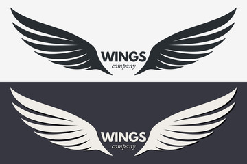 Winged Emblem for Your Company. Wing Silhouette for Tattoo, Logo or Other Symbols Wall mural