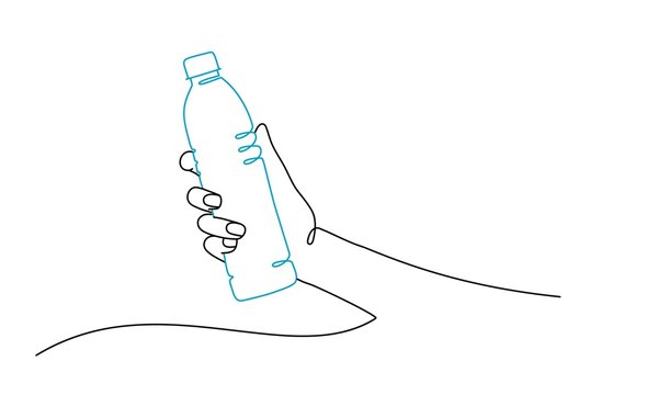 Human hand with bottle of water. Line drawing vector illustration.