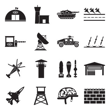 Military Base Icons. Black Flat Design. Vector Illustration.